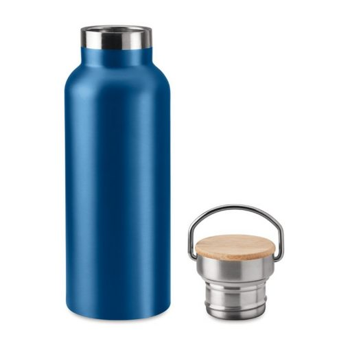 Termos dublu 500 ml, bambus, otel inoxidabil, Everestus, TE3, albastru, saculet de calatorie inclus