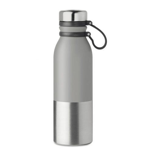 Sticla sport cu perete dublu de 600 ml, otel inoxidabil, silicon, Everestus, RA6, gri, saculet de calatorie inclus