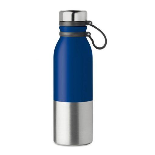 Sticla sport cu perete dublu de 600 ml, otel inoxidabil, silicon, Everestus, RA7, albastru royal, saculet de calatorie inclus