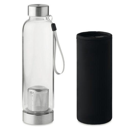 Bidon apa cu perete simplu 500 ml, sticla, Everestus, RA2, negru, saculet de calatorie inclus