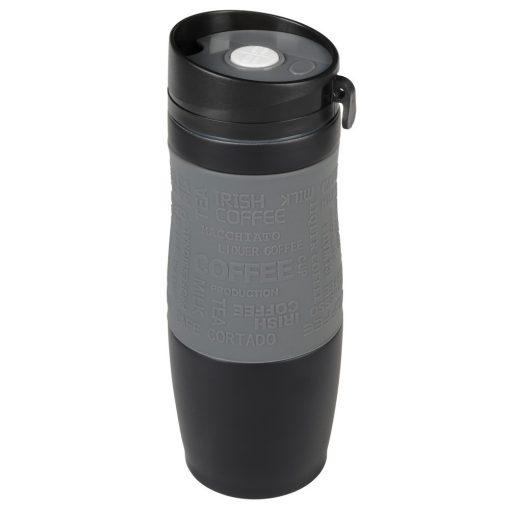 Cana termos perete dublu 380 ml, negru, gri, Everestus, CT02GM, otel inoxidabil, silicon, plastic, saculet de calatorie inclus
