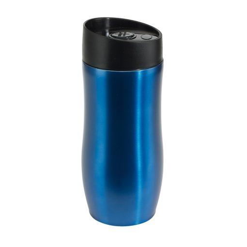 Cana de calatorie 380 ml cu perete dublu, albastru, Everestus, CC04CO, otel inoxidabil, plastic, saculet de calatorie inclus