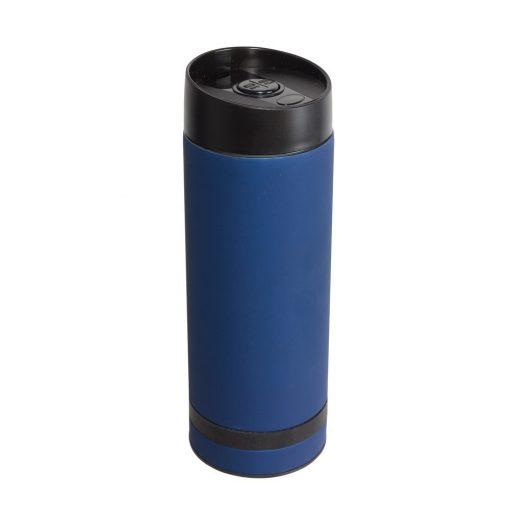 Cana de calatorie 380 ml cu perete dublu, albastru inchis, Everestus, CC07FD, otel inoxidabil, plastic, saculet inclus