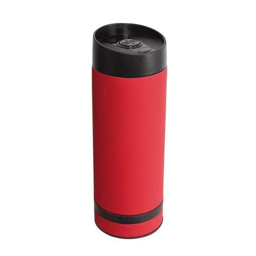 Cana de calatorie 380 ml cu perete dublu, rosu, Everestus, CC09FD, otel inoxidabil, plastic, saculet de calatorie inclus