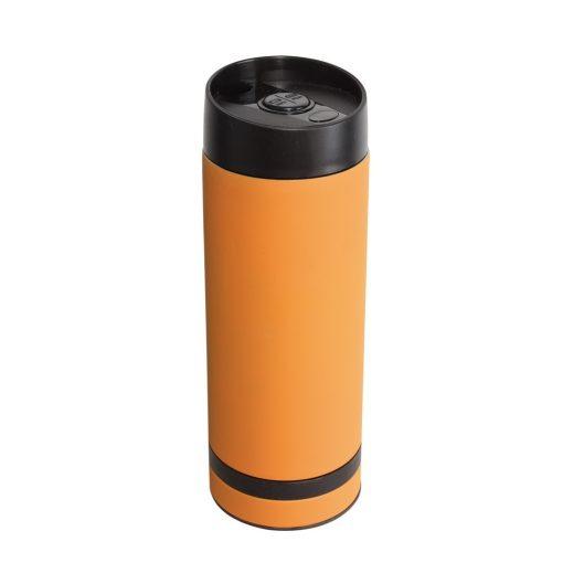 Cana de calatorie 380 ml cu perete dublu, portocaliu, Everestus, CC08FD, otel inoxidabil, plastic, saculet de calatorie inclus