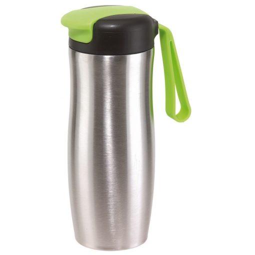 Cana de calatorie 400 ml, argintiu si verde, Everestus, CC17TT, otel inoxidabil, plastic, silicon, saculet de calatorie inclus