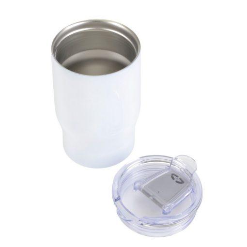 Cana de calatorie 350 ml, perete dublu, alb, Everestus, CC01BR, otel inoxidabil, silicon, plastic, saculet de calatorie inclus
