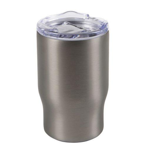 Cana de calatorie 350 ml, perete dublu, argintiu, Everestus, CC02BR, otel inoxidabil, silicon, plastic, saculet inclus