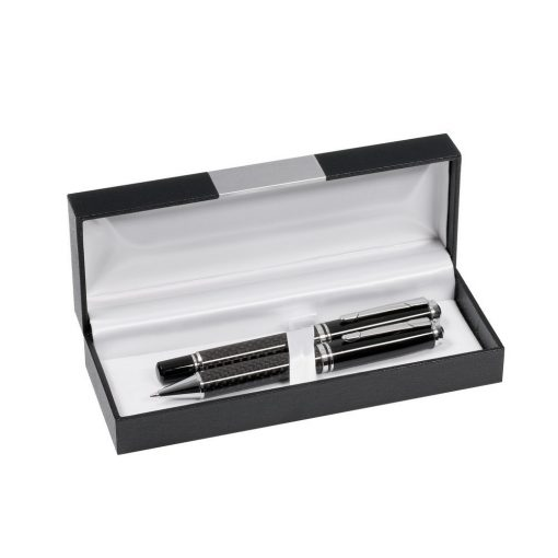 Set instrumente de scris, roller si pix, negru, argintiu, Everestus, SS11CN, alama, lupa de citit inclusa