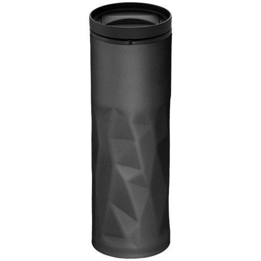 Cana de calatorie 450 ml, perete dublu, Everestus, TO, otel inoxidabil exterior, as plastic interior, negru, saculet inclus