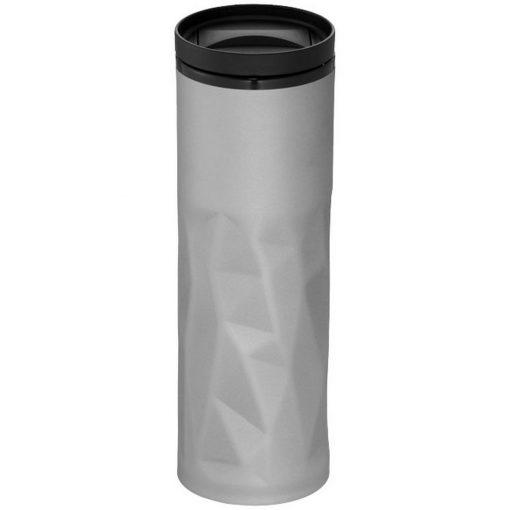 Cana de calatorie 450 ml, perete dublu, Everestus, TO, otel inoxidabil exterior, as plastic interior, argintiu, saculet inclus