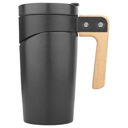 Cana de calatorie 475 ml din ceramica, cu maner din lemn, Everestus, GO, negru, saculet de calatorie inclus