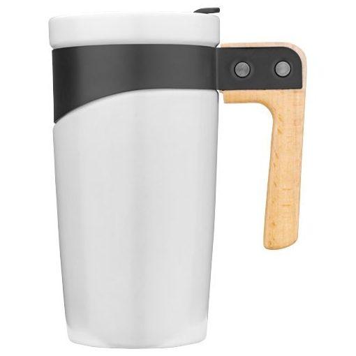 Cana de calatorie 475 ml din ceramica, cu maner din lemn, Everestus, GO, alb, saculet de calatorie inclus