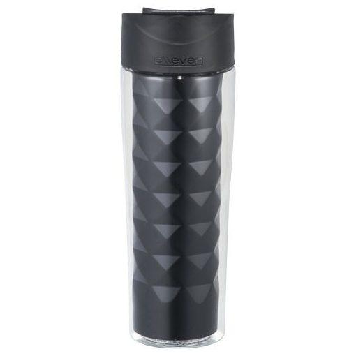 Cana de calatorie 475 ml, forma geometrica, Everestus, TE, bpa free tritan pe exterior si otel inox interior, negru, sac inclus