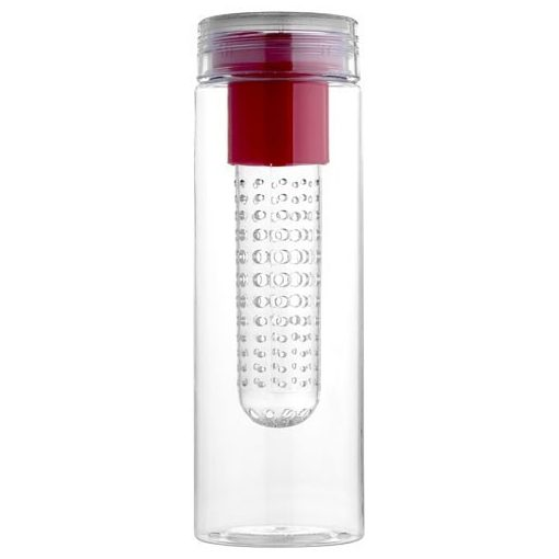 Sticla sport 740 ml cu infuzor, Everestus, FN, bpa free, tritan, transparent, rosu, saculet de calatorie inclus