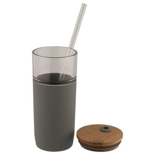 Cana 600 ml, cu pai inclus, capac din bambus, Everestus, AO, sticla, silicon, gri, saculet de calatorie inclus