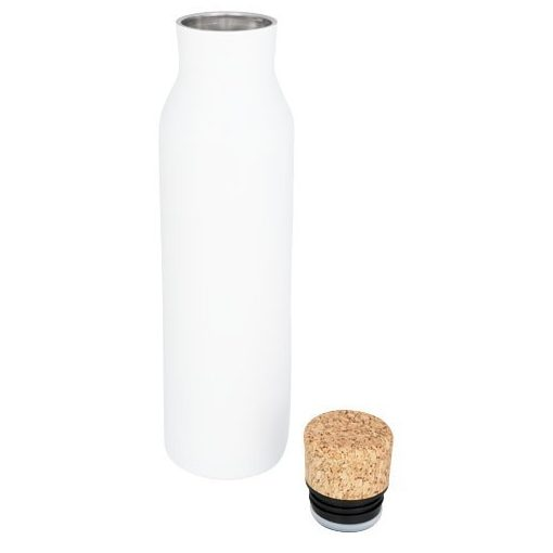 Sticla termoizolanta 590 ml, perete dublu, fara condens, capac din pluta, Everestus, NE, otel inoxidabil, alb, saculet inclus