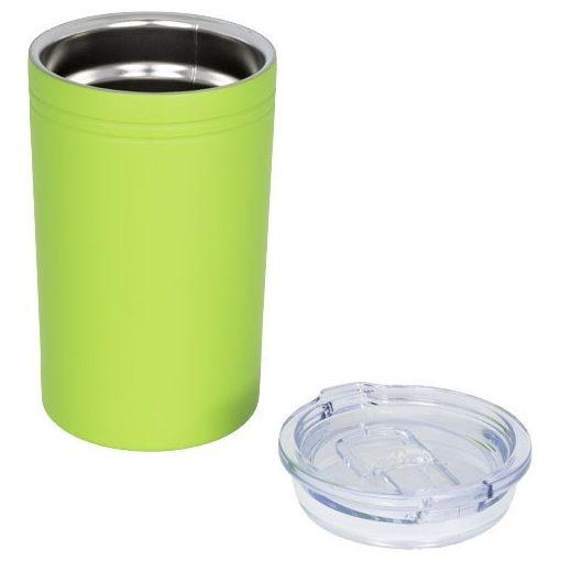Cana de voiaj 330 ml cu perete dublu izolat, Everestus, PA03, otel inoxidabil, verde lime, saculet de calatorie inclus
