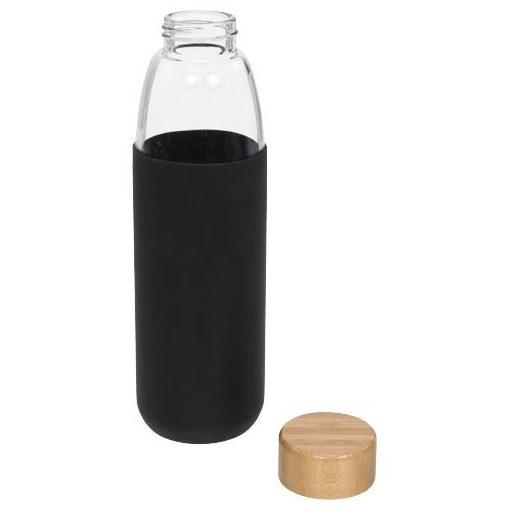 Sticla sport 540 ml cu capac din lemn, Everestus, KI, sticla, silicon si lemn, negru, saculet de calatorie inclus