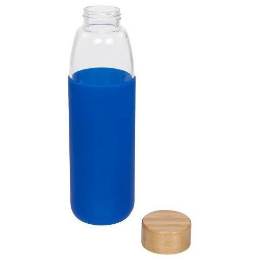 Sticla sport 540 ml cu capac din lemn, Everestus, KI, sticla, silicon si lemn, albastru, saculet de calatorie inclus
