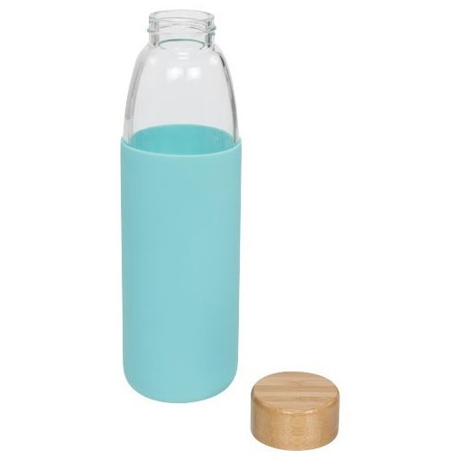 Sticla sport 540 ml cu capac din lemn, Everestus, KI, sticla, silicon si lemn, turcoaz, saculet de calatorie inclus