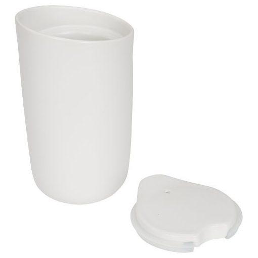 Cana de calatorie cu perete dublu din ceramica, 410 ml, Everestus, MA, alb, saculet de calatorie inclus