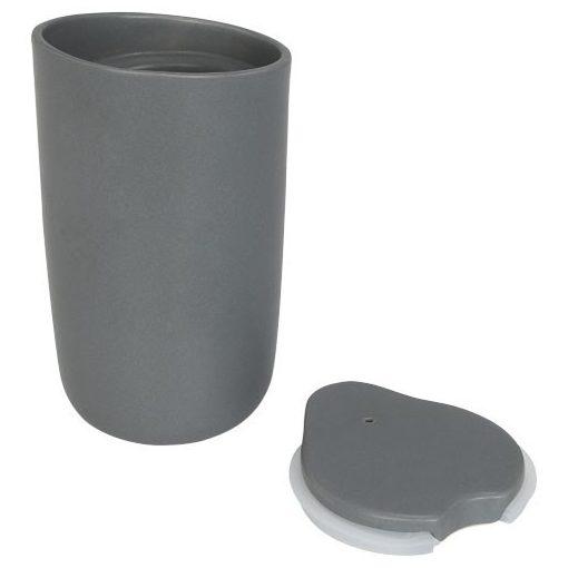 Cana de calatorie cu perete dublu din ceramica, 410 ml, Everestus, MA, gri, saculet de calatorie inclus