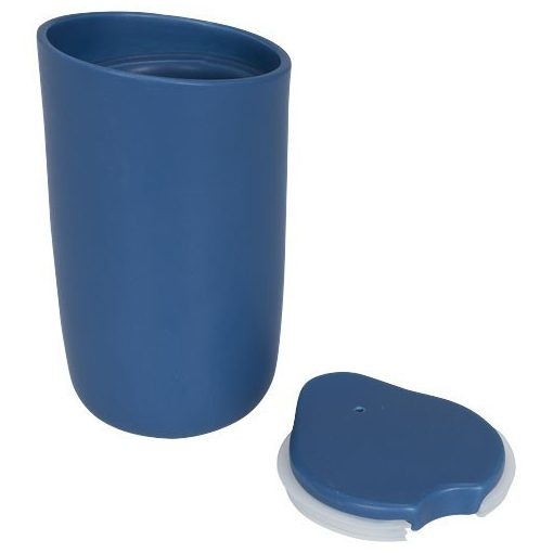 Cana de calatorie cu perete dublu din ceramica, 410 ml, Everestus, MA, albastru, saculet de calatorie inclus