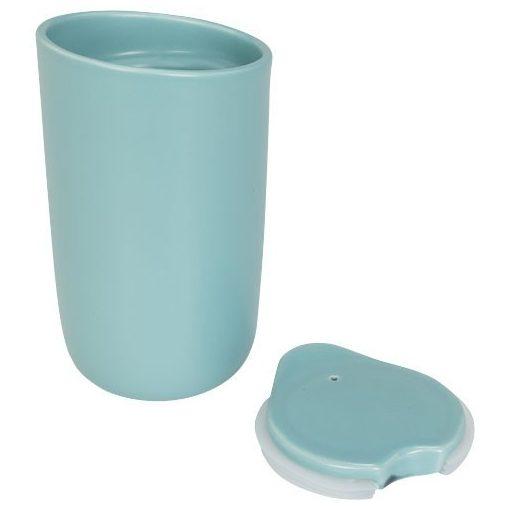 Cana de calatorie cu perete dublu din ceramica, 410 ml, Everestus, MA, mint, albastru, saculet de calatorie inclus