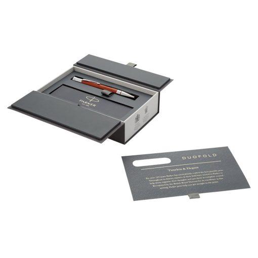 Pix premium Parker Duofold, metal, negru, argintiu, breloc inclus din piele ecologica si metal