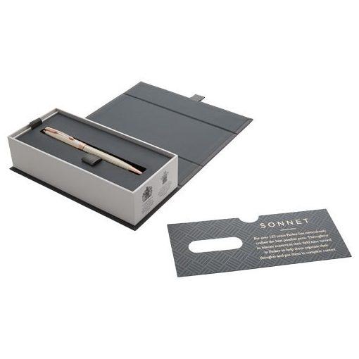 Pix cu pasta neagra, Parker Sonnet, metal, argintiu, breloc inclus din piele ecologica si metal