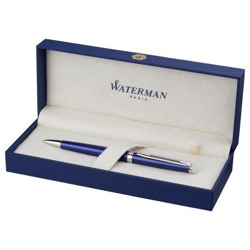 Pix subtire si elegant Waterman Hémisphère, metal, albastru, breloc inclus din piele ecologica si metal