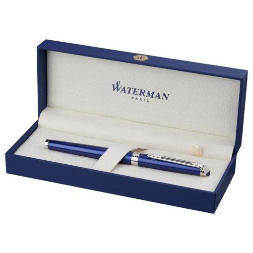 Pix roller elegant, pasta neagra, Waterman Hémisphère, metal, albastru, breloc inclus din piele ecologica si metal