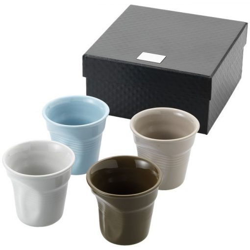 Set 4 cesti de cafea 80 ml, cu design haios, Everestus, MO, ceramica, multicolor, saculet de calatorie inclus