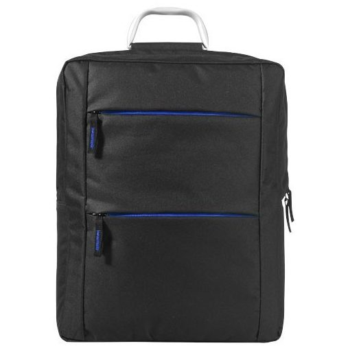 Rucsac Laptop, Everestus, BN, 15.6 inch, 600D poliester, negru, albastru, saculet de calatorie si eticheta bagaj incluse