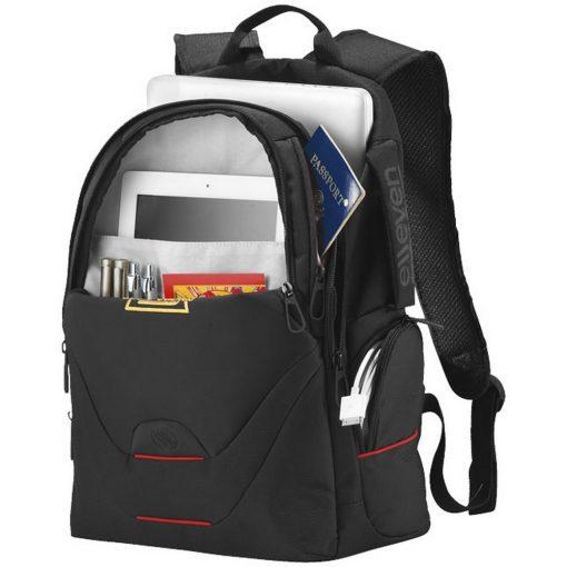 Rucsac Laptop, Elleven by AleXer, MN, 15 inch, 600D poliester si 420D nylon, negru, breloc inclus din piele ecologica