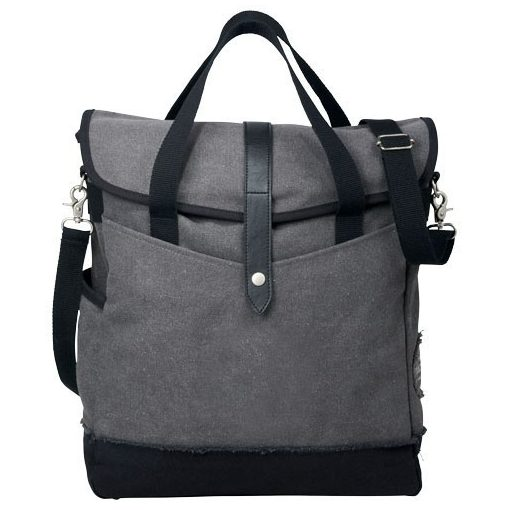 Geanta tote Laptop, Everestus, HN, 14 inch, panza 542 g/m² bumbac si vinyl, gri, negru, saculet si eticheta bagaj incluse