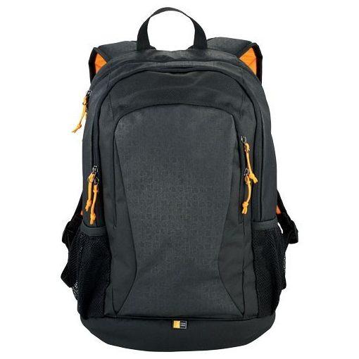 Rucsac Laptop si Tableta, Case Logic by AleXer, IA, 15.6 inch, poliester, negru, portocaliu, breloc inclus din piele ecologica