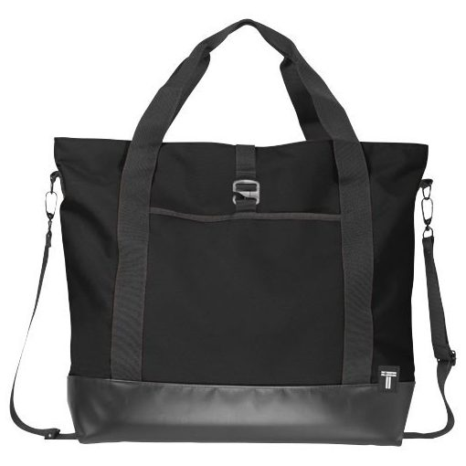 Geanta tote Laptop, Everestus, WR, 15 inch, 300D poliester cu tarpaulin, negru, saculet de calatorie si eticheta bagaj incluse