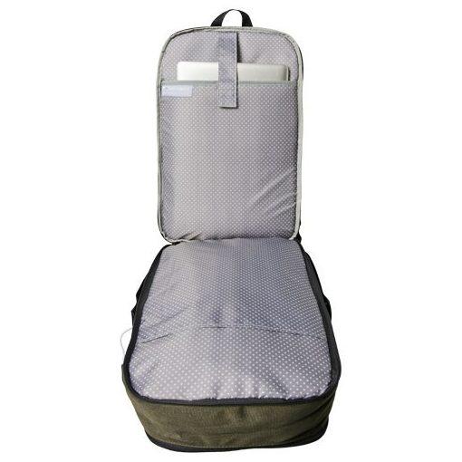 Rucsac Laptop, Everestus, DN, 17 inch, 600D Polycanvas, masliniu, saculet de calatorie si eticheta bagaj incluse