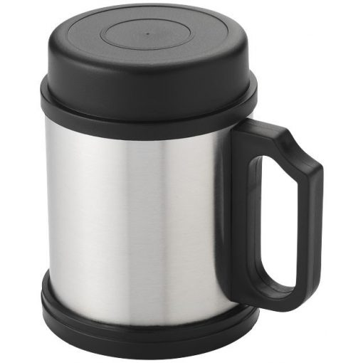 Cana termica 330 ml, Everestus, BW, otel inoxidabil exterior si interior, argintiu, negru, saculet inclus