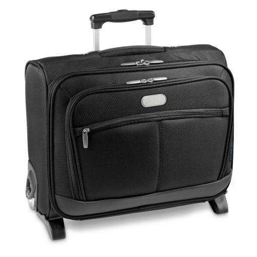 Troler Laptop 15.6 inch, Everestus, MA, piele ecologica si 1680D, negru, saculet de calatorie si eticheta bagaj incluse