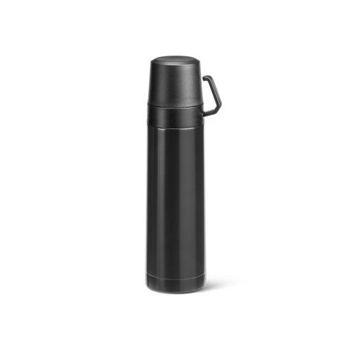 Termos 490 ml, perete dublu, cana capac, Everestus, TL, otel inoxidabil si pp, negru, saculet de calatorie inclus