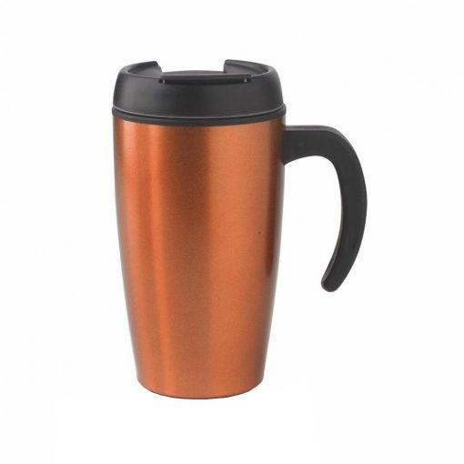 Cana de birou 400 ml, XD by AleXer, UN, pp, otel inoxidabil, portocaliu, breloc inclus din piele ecologica si metal