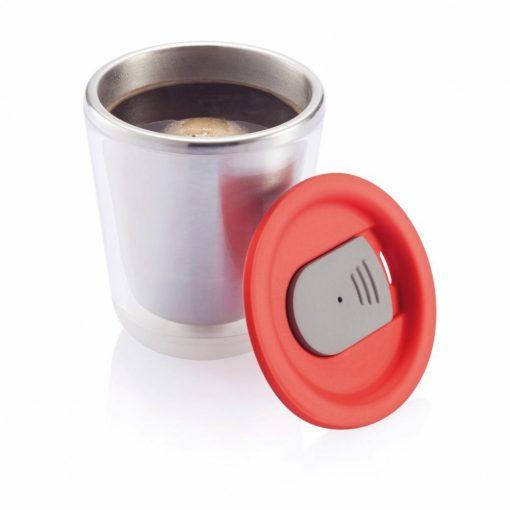 Cana cafea 227 ml, XD by AleXer, DA, otel inoxidabil, as, rosu, breloc inclus din piele ecologica si metal