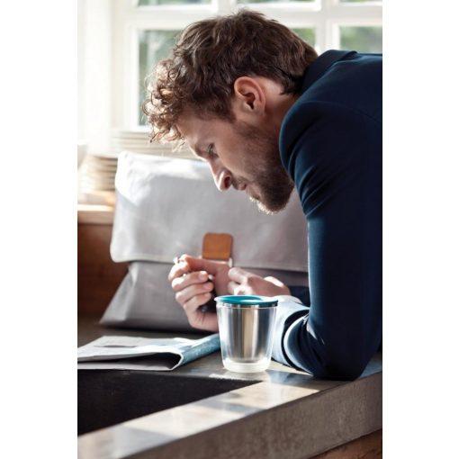 Cana cafea 227 ml, XD by AleXer, DA, otel inoxidabil, as, turcoaz, breloc inclus din piele ecologica si metal