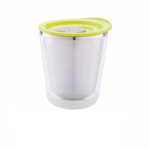 Cana cafea 227 ml, XD by AleXer, DA, otel inoxidabil, as, verde, breloc inclus din piele ecologica si metal