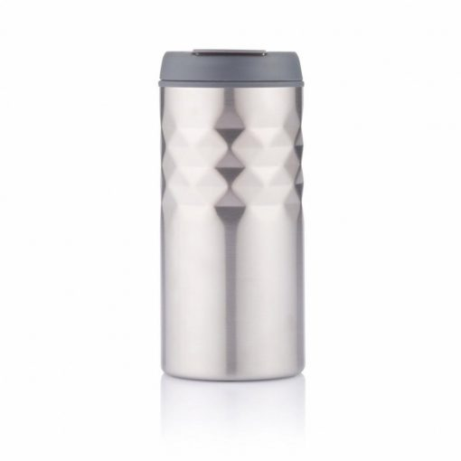 Cana de calatorie 300 ml, XD by AleXer, MA, pp, otel inoxidabil, antracit, breloc inclus din piele ecologica si metal
