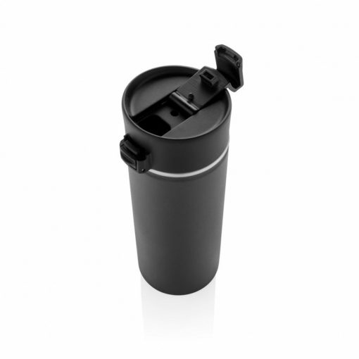Cana termoizolanta 500 ml, fara scurgeri, cu invelis ceramic, XD by AleXer, BA, otel inoxidabil, pp, negru, breloc inclus