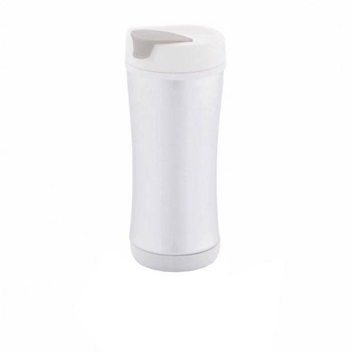 Cana de calatorie 225 ml, fara scurgeri, XD by AleXer, BM, pp, aluminiu, alb, breloc inclus din piele ecologica si metal